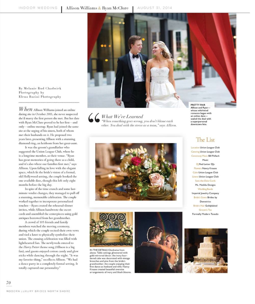 View the web article via Modern Luxury Brides North Shore