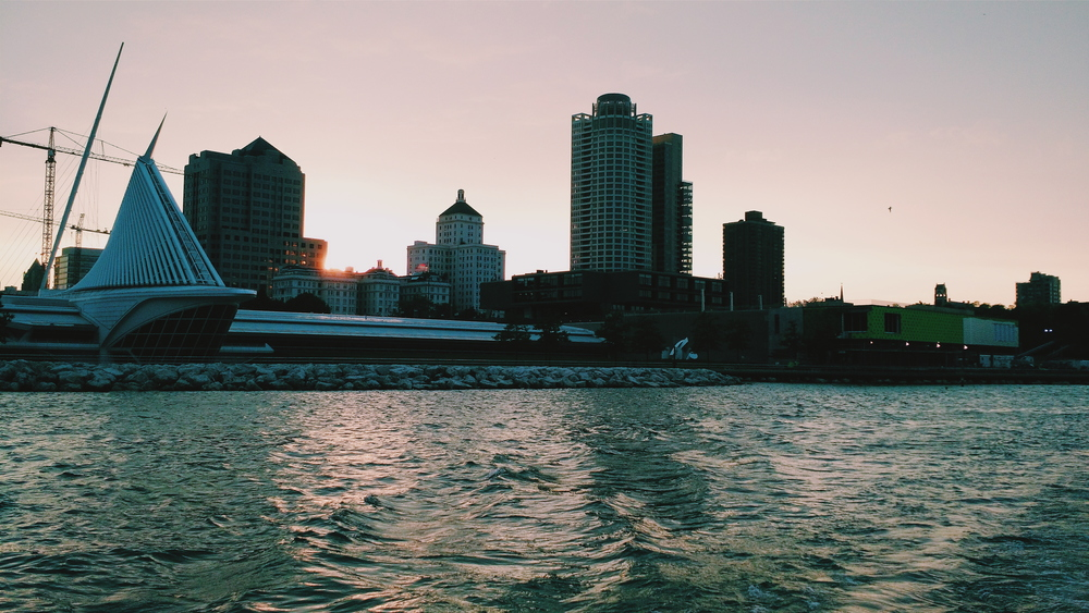 view of the mke skyline from the boat cruise