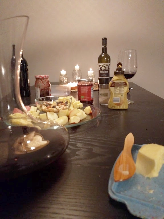 Our Valentine's was simple and sweet: wine and cheese with a homemade chocolate cake + cream cheese frosting -