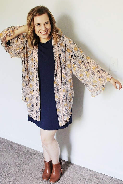 Navy t-shirt dress, kimono, booties