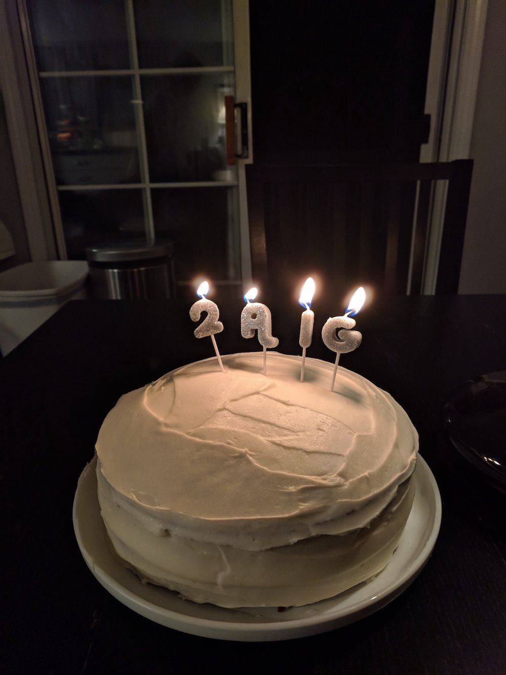 "Tom turned 28 and I thought I bought numbered candles but apparently I got ""29 Again"" ...so we improvised. Haha!"