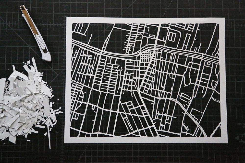 Copy of CITY OF THIBODAUX MAP   Papercut Art