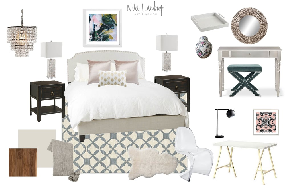 Preppy Bedroom Interior Design Board