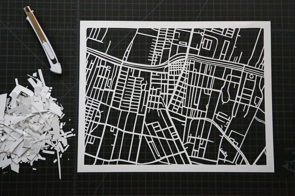 Thibodaux Map | Papercut Art