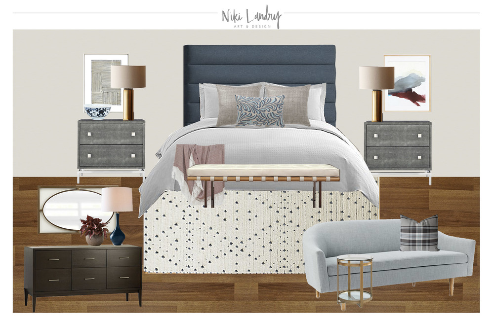BRUISED BEDROOM  BLUE AND BURGUNDY E DESIGN U2014 Louisiana Interior Design |  NIKI LANDRY Art U0026 Design