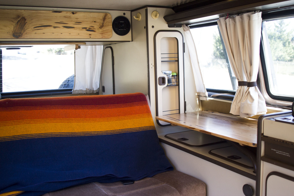I look inside our home / office / adventure mobile Stanley