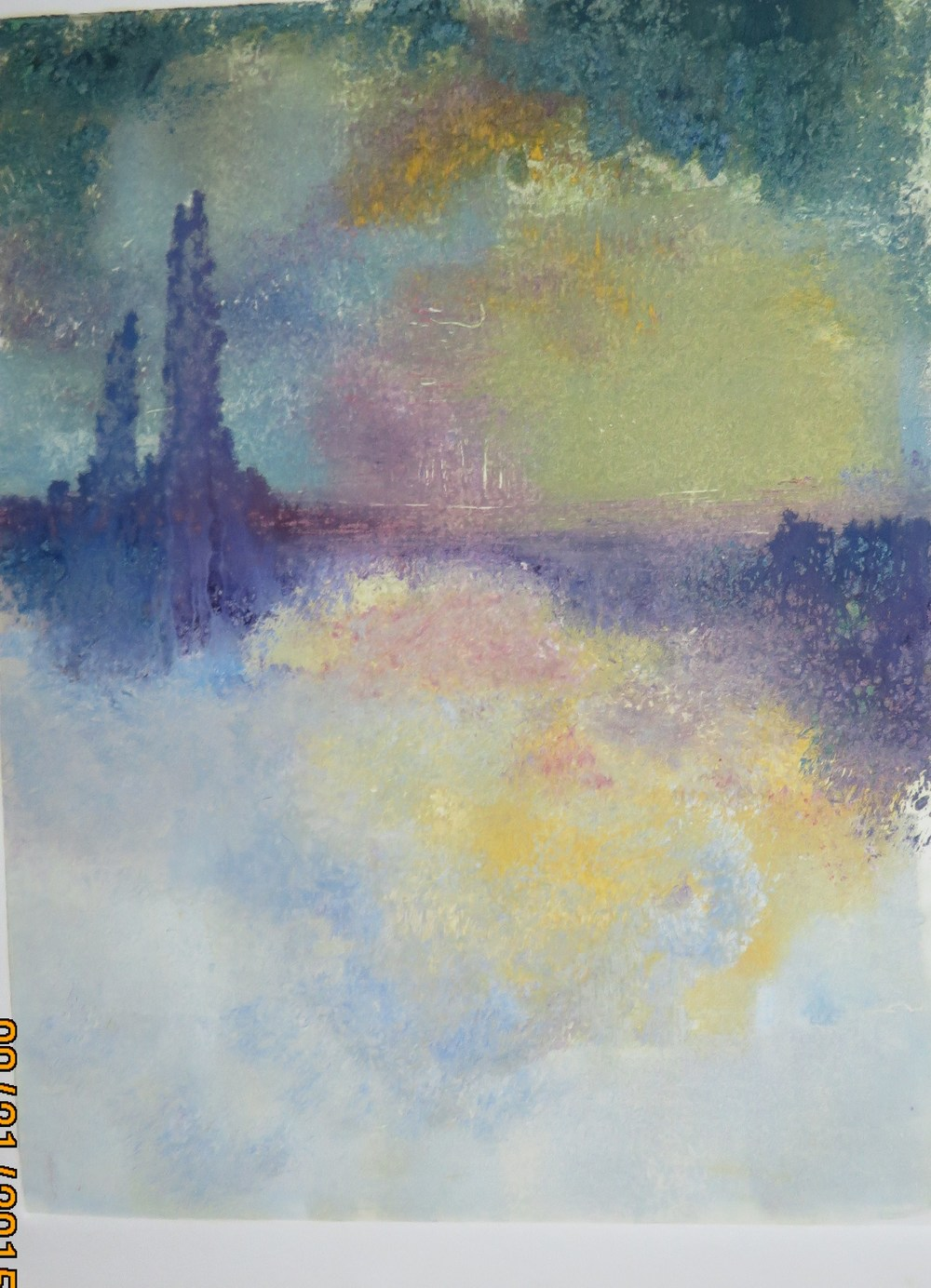 """Trestle Bridge - Foggy Night""  - Monoprint"
