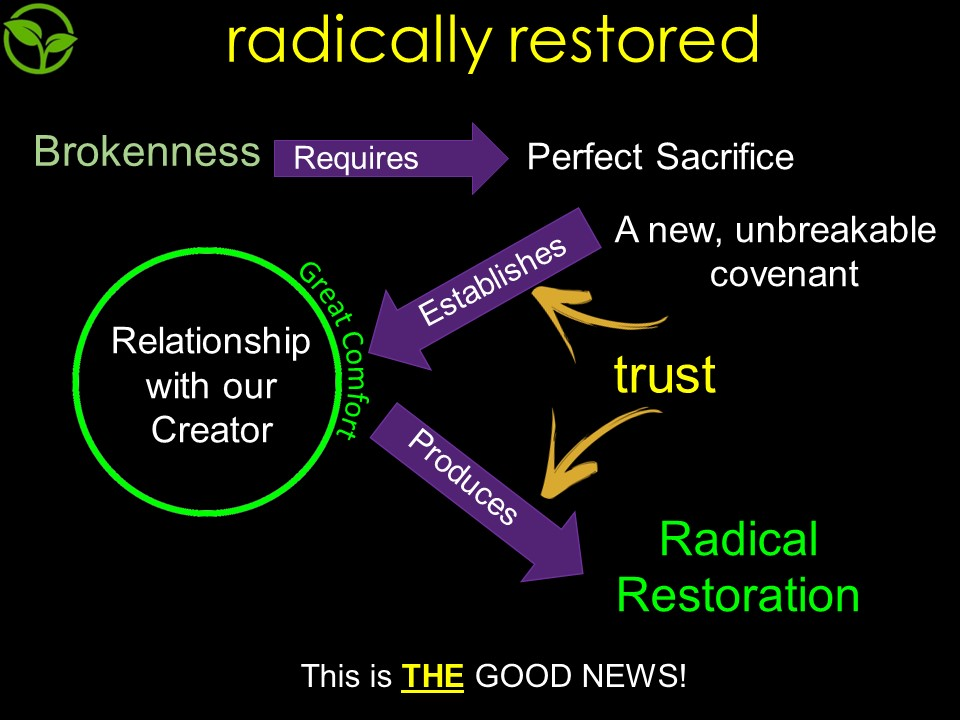 One of the slides from the sermon. The process of restoration can not happen when we try harder but comes through the free gift of intimacy with God through the work of Jesus on the cross in establishing an unbreakable covenant between the Father and the Son- and we are IN THE SON!