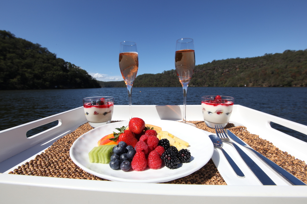 Champagne breakfast at Calabash Bay Lodge, Berowra Waters