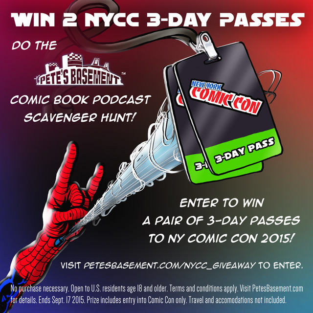 BUT WAIT! THERE'S MORE! Adrian Has Issues is proud to be a part of Pete's Basement's Comic Book Podcast Scavenger Hunt! Listen to this episode as well as the following podcasts for a trivia question. Then go to  petesbasement.com/nycc_giveaway with your answer gets you 5 entries in the contest.  Comical Podcast Geeks With Wives & Capes Bry-Fy podcast Adrian Has Issues Epic Comicast Superhero Speak Twos Company 3s A Podcast