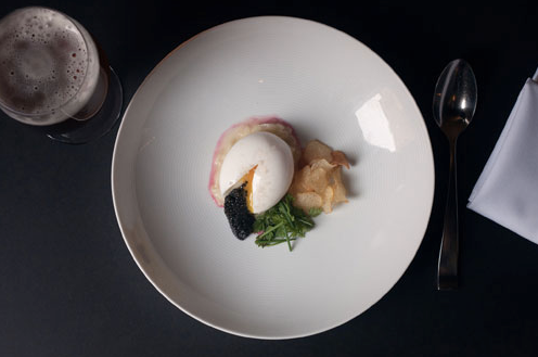 New York City Soft boiled egg with caviar at David Chang's Momofuku Ko