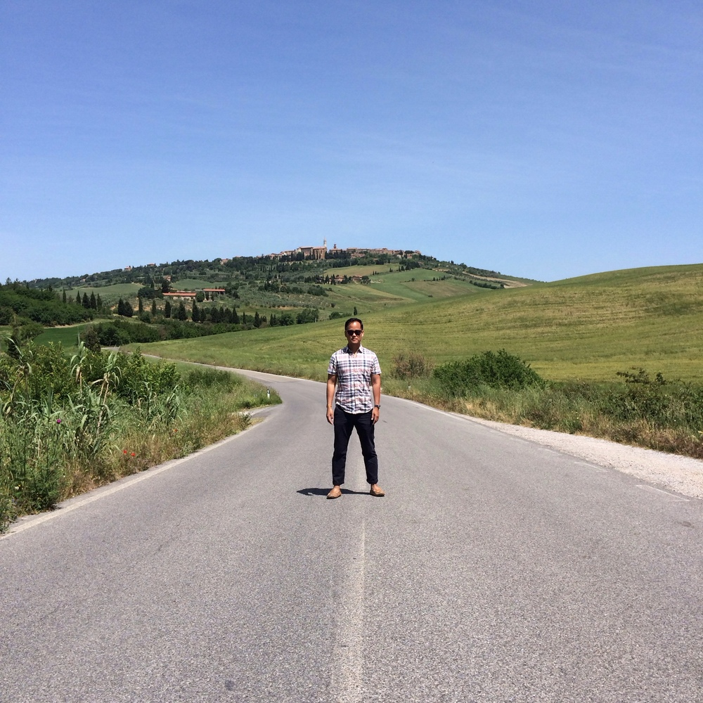 Pienza, Italy The only thing between Jon and Pecorino is this road