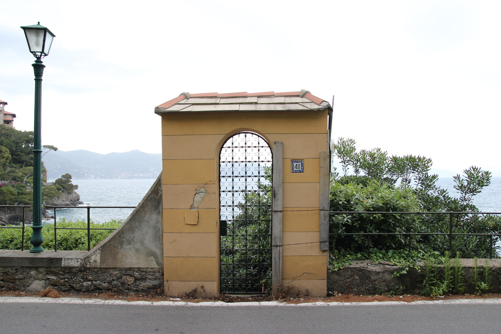 PORTOFINO Walking along the road past tiny villages to one of the most beautifully urbane harbor towns in the world, we came across this doorway. Literally a door to the Ligurian Coast.