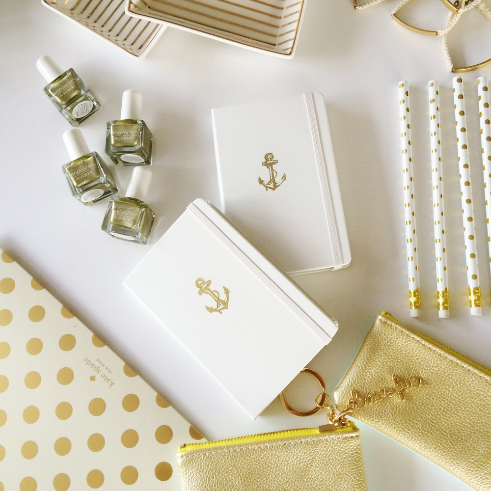 "Will You Be My Bridesmaids?   Hand embossed Moleskin notebooks Kate Spade stationary JCrew jewelry tray + bracelet + nail lacquer Bandoo ""Have Fun"" pouches"