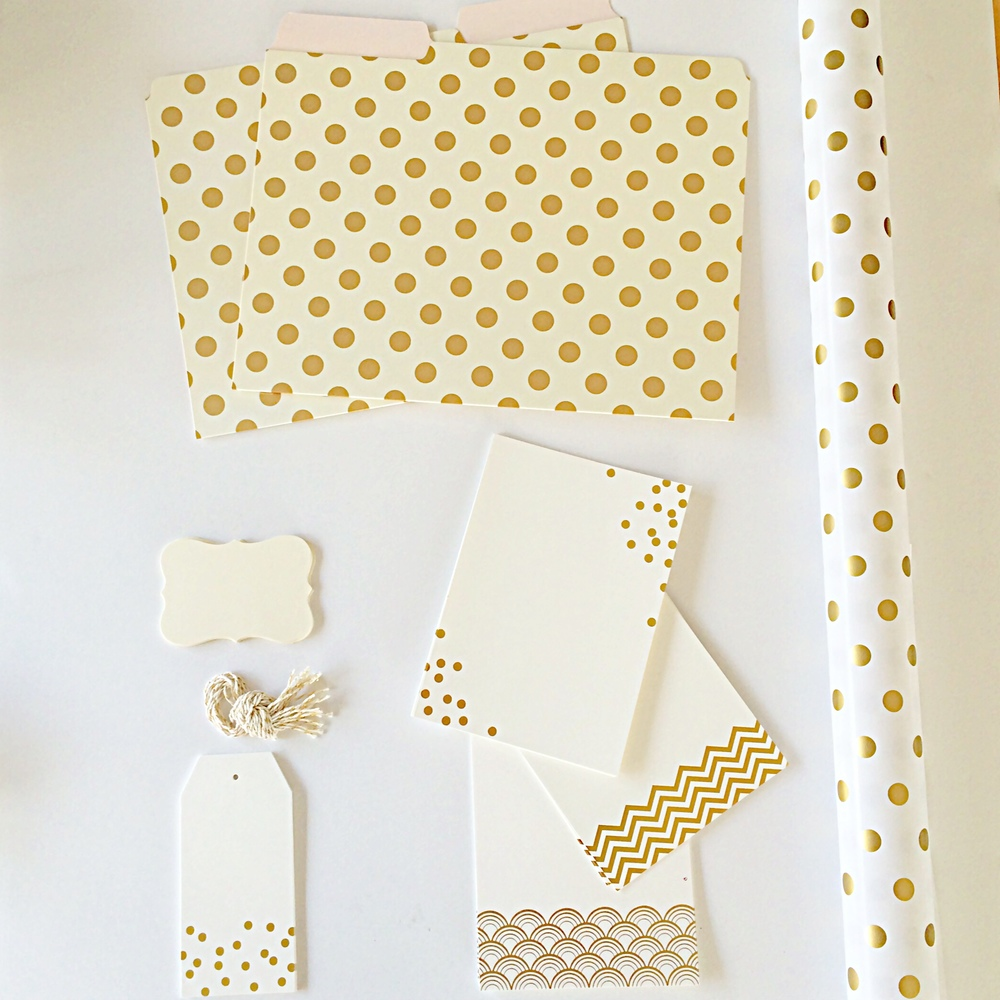 White and Gold  Stationary and paper goods from Paper Source