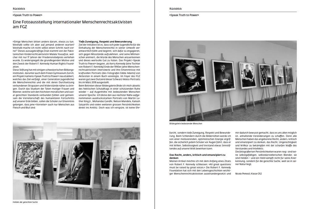 Der Schüler  Nicola Prenosil  über die Fotoausstellung Speak Truth To Power am Freien Gymnasium in Zürich (aus dem Jahresbericht 2017-18).
