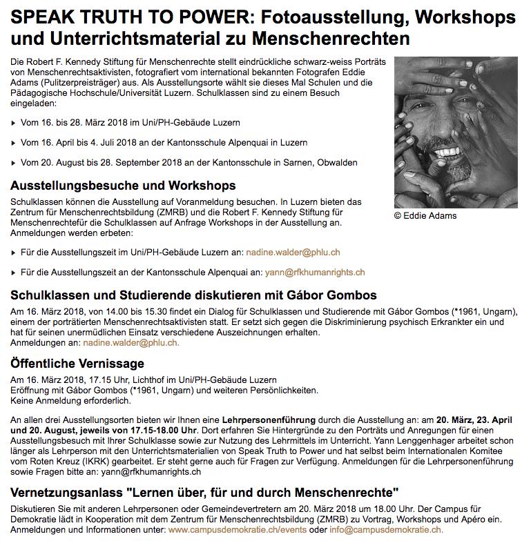 Speak Truth To Power an der  PH Luzern .