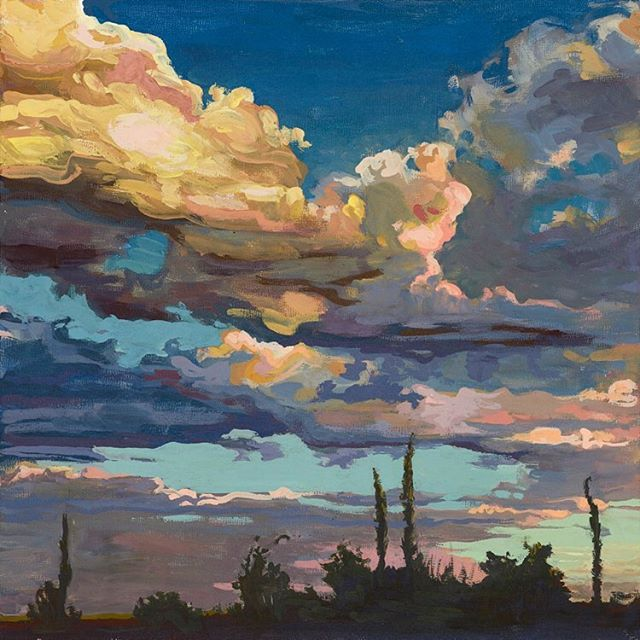 'Last Night' Print available in a range of sizes. To order - visit my website saralathan.com #art #texasartist #clouds #austinartist