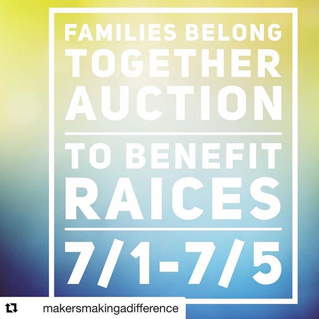 I just learned about this so I don't know if I'll have a chance to donate work in time, but I wanted to spread the word to other makers! @raicestexas supports refugee families in need of legal representation. More details below.  #Repost @makersmakingadifference with @get_repost ・・・ The donations of art, jewelry, crafts and other items are pouring in. Make sure your friends know about our auction and follow us @makersmakingadifference  #familiesbelongtogether #makersmakingadifference