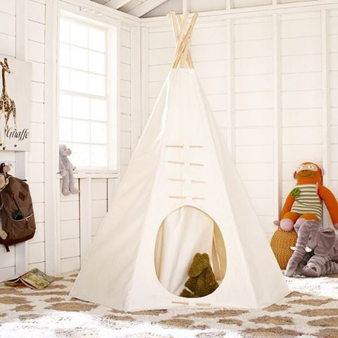 The Classic Prairie Teepee 💛 @birchlane #imagination #pretendplay #playroom #bebrave #interiordesign #homedecor #dextonkids #birchlane #wayfair #nursery #indoorcamping #bohotent #mommybreak #nevergrowup