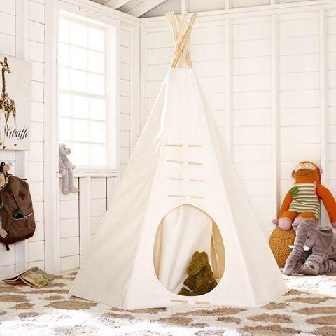 The Classic Prairie Teepee 💛 @birchlane #imagination #pretendplay #playroom #bebrave #interiordesign #homedecor #dextonkids #birchlane #wayfair #nursery #indoorcamping #bohotent #mommybreak #nevergrowup