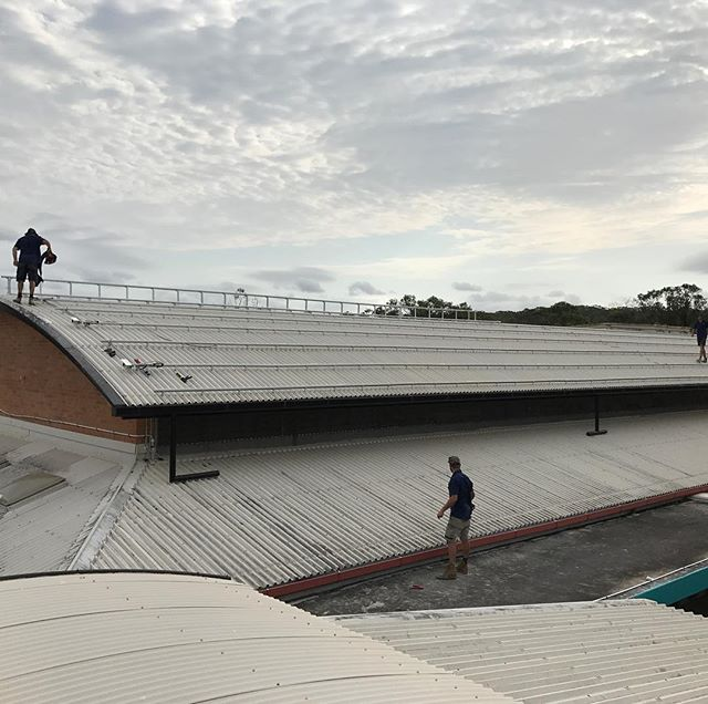 We made the most of it being school holidays today laying the groundwork for Byron High School's new large scale solar system. I even scored a couple of handballs off the roof for my kids! #byronbaysolar #byronhighschool
