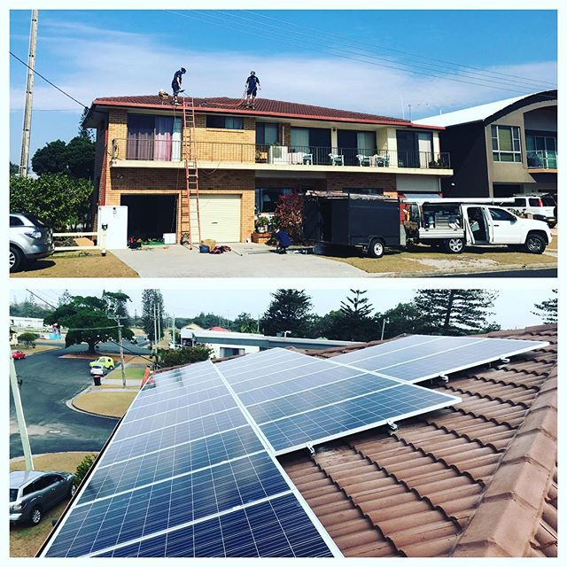 The before and after.... not a bad day to go for a day trip to Yamba for one of our solar clients.