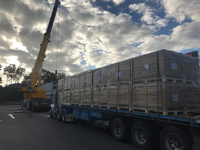 Our panels arrived yesterday in Brisbane direct from our trusted suppliers @haymansbyron. Thanks Macca for your expert help !