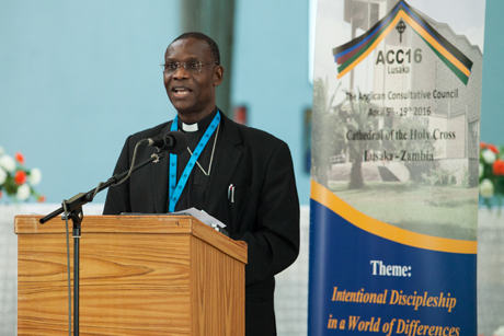 The Secretary General of the Anglican Communion, Dr Josiah Idowu-Fearon, addresses members of the ACC in Lusaka