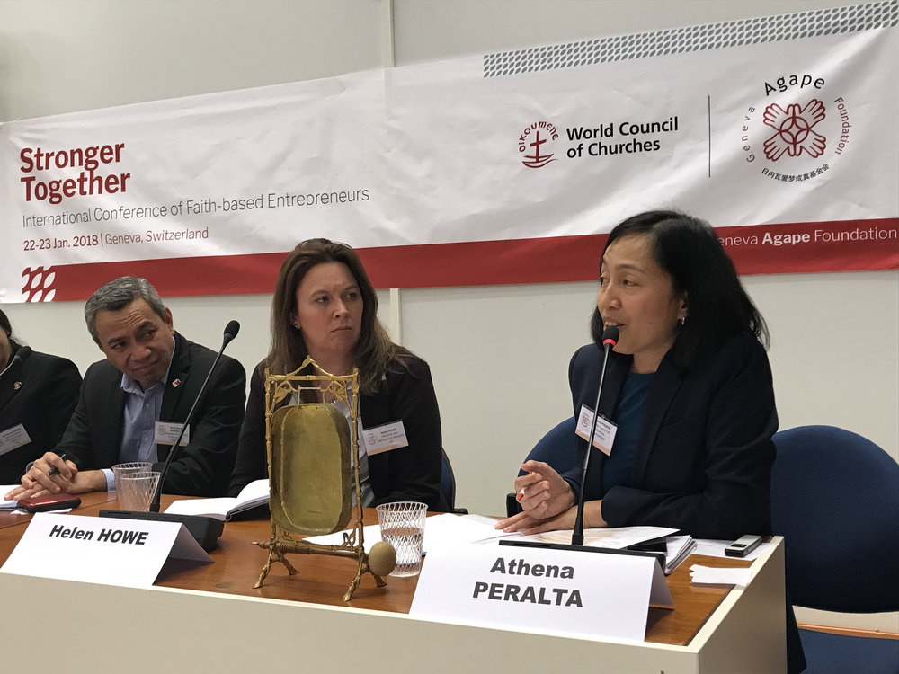 WCC programme executive Athena Peralta addresses the conference (Photo: Geneva Agape Foundation)