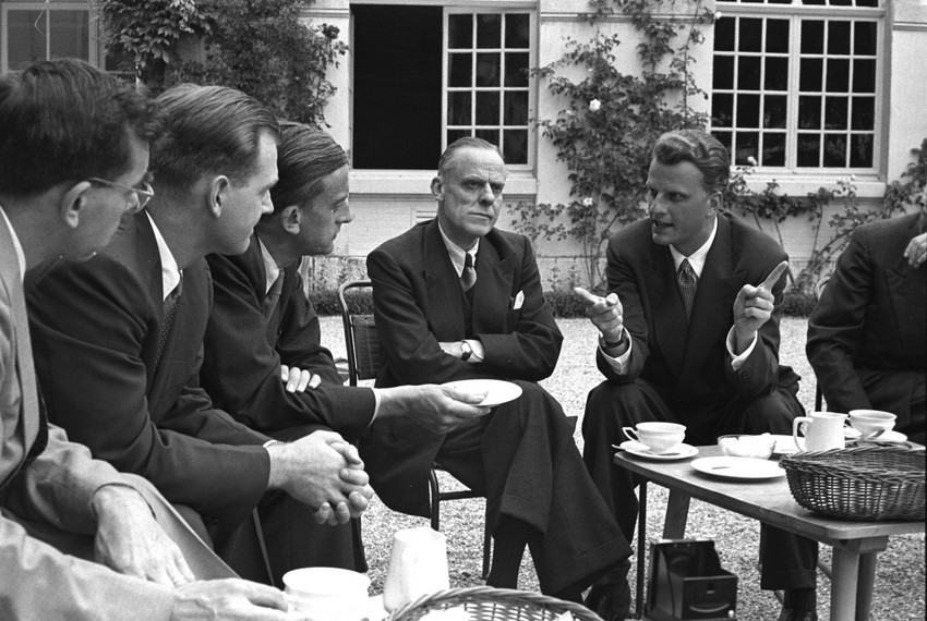 Billy Graham visits the Ecumenical Institute at Bossey, in June 1955.