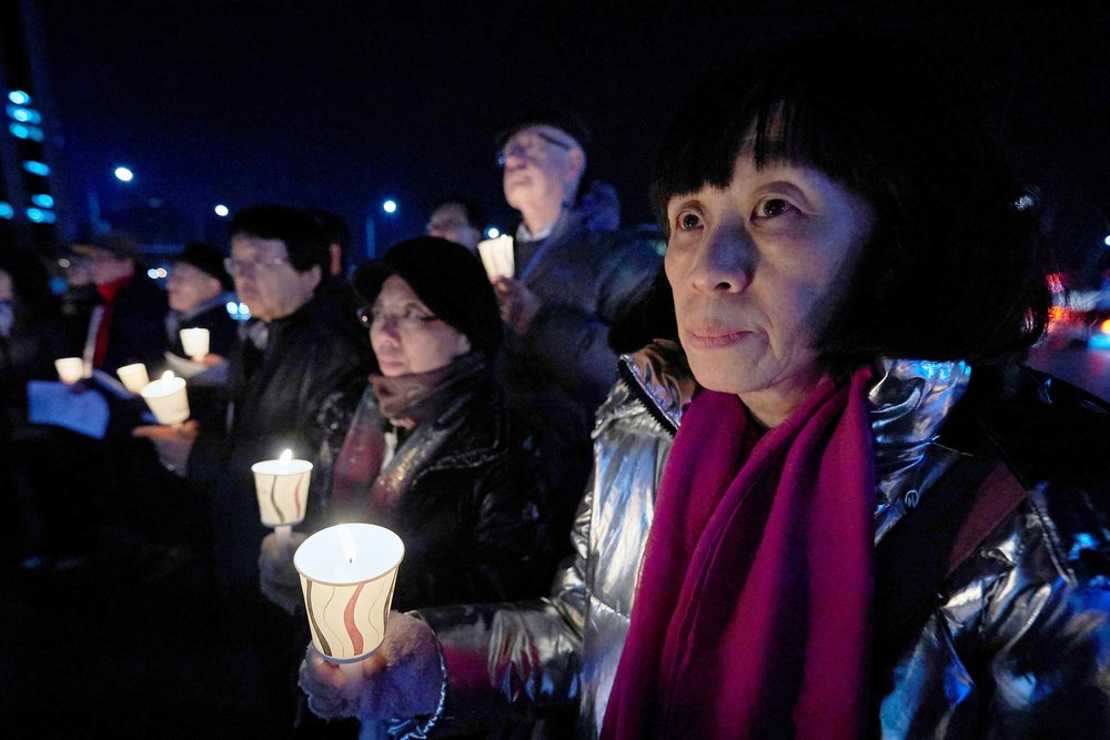 Candle-light vigil for peace in the Korean peninsula. Photo by Paul Jeffrey/WCC, December 2017
