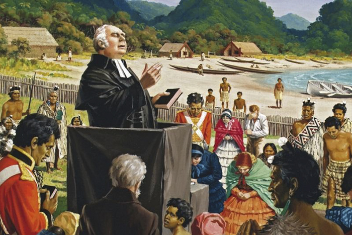 "Leonard C Mitchell's depiction of the first Church service in New Zealand, on Christmas Day 1814, as the Revd Samuel Marsden delivers a sermon on Luke 2:10 – ""Behold, I bring you glad tidings of great joy."""
