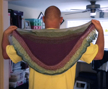 Robin's brother models her Labor Day shawl.