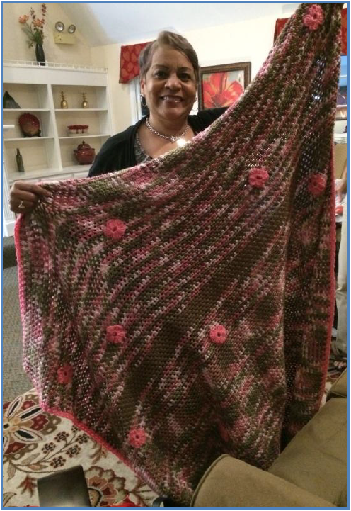 Dot's beautiful crocheted and embellished blanket.