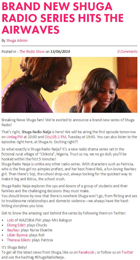 Brand New Shuga Radio Series Hits the Airwaves.JPG