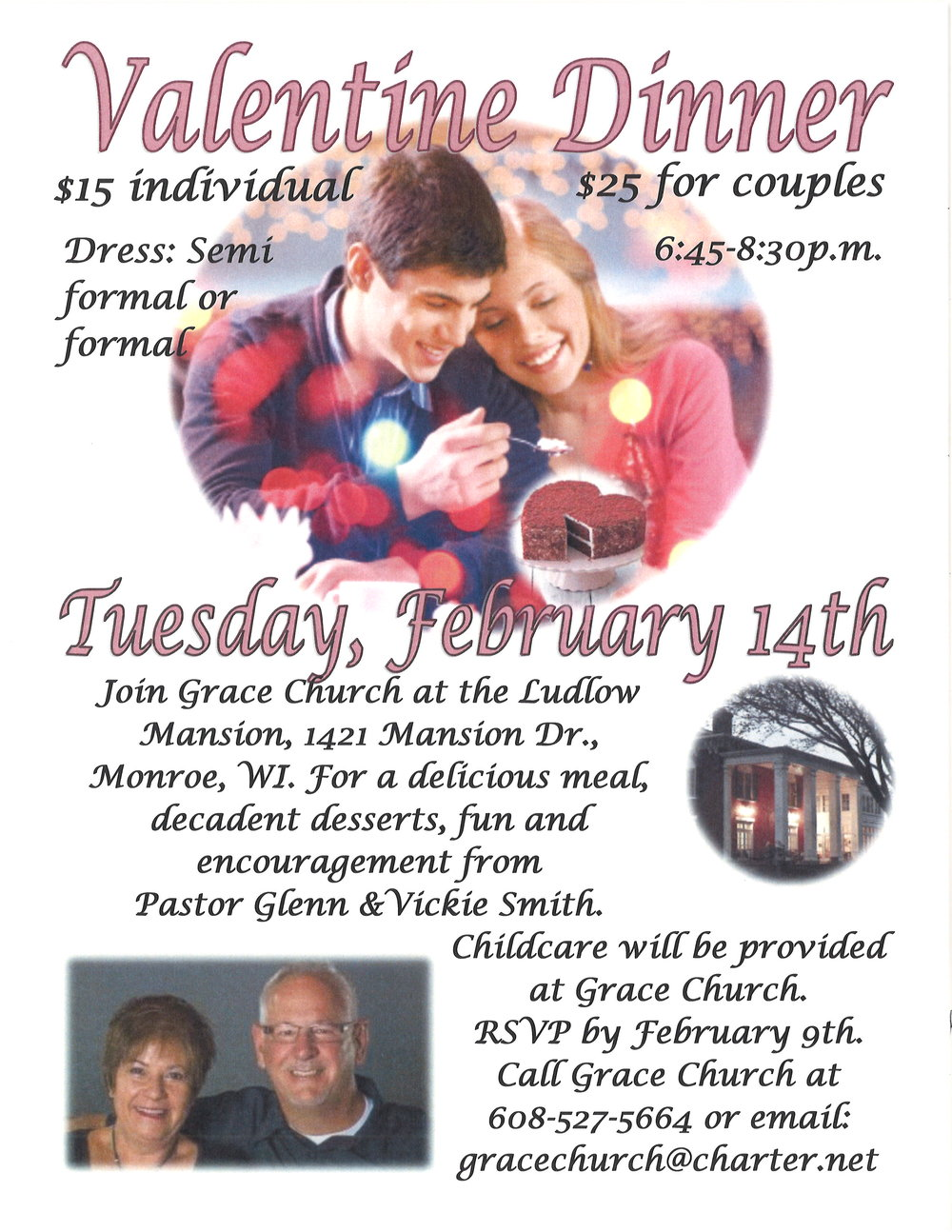 Checks can be made to Grace Church and sent to P.O. Box 430, New Glarus WI 53574 or pay that night at the door.