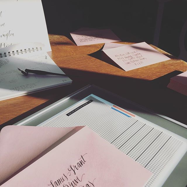 "Morning light coming in on these pretty blush envelopes. I think I will always love to write ""g""! I mean, is there really a prettier letter in calligraphy? 😍"