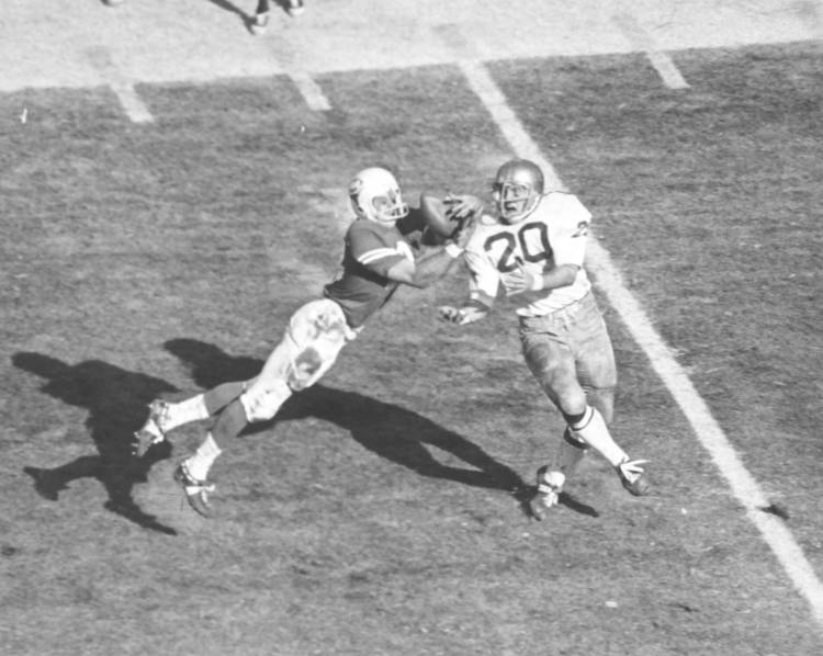 Lester intercepting pass against Notre Dame 1969