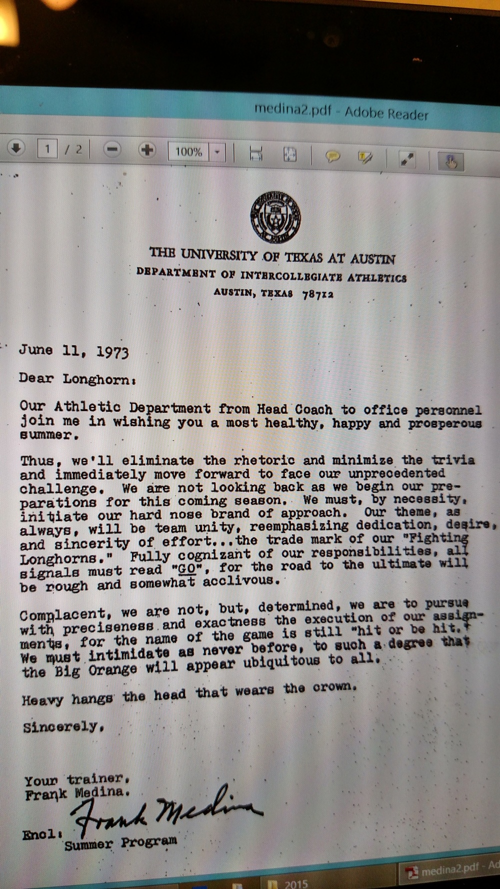 1973 letter to the football team -