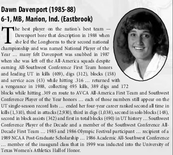 Dawn Davenport was named to the SWC player of the decade for the 80's, NCAA National Player of the Year, and in 1989 received a NCAA postgraduate scholarship
