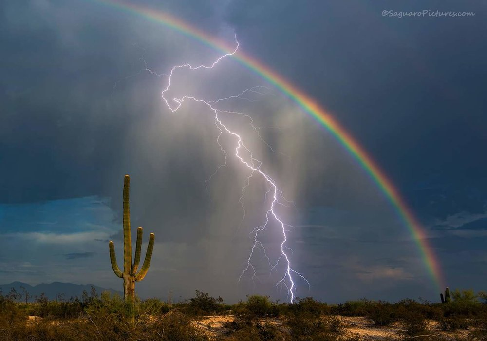 Coach Petrucelli brings lightning , a Rainbow, and some rain. -