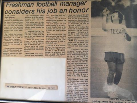 Article about Luskey in 1977 -