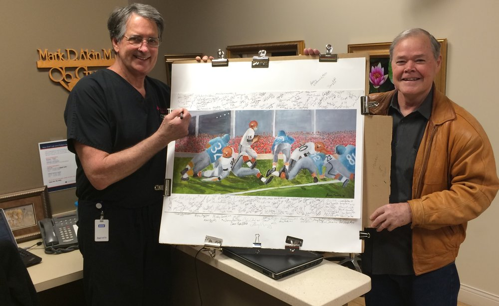 Dr. Mark Akin and Billy Dale with Greg's Lithograph -