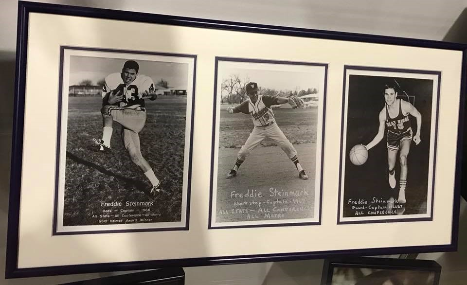 """Was in Denver at Arvada high school. This was in their trophy case.""  (FB 2-23-18 from Chuck Reddick- friend of Tom Campbell)"