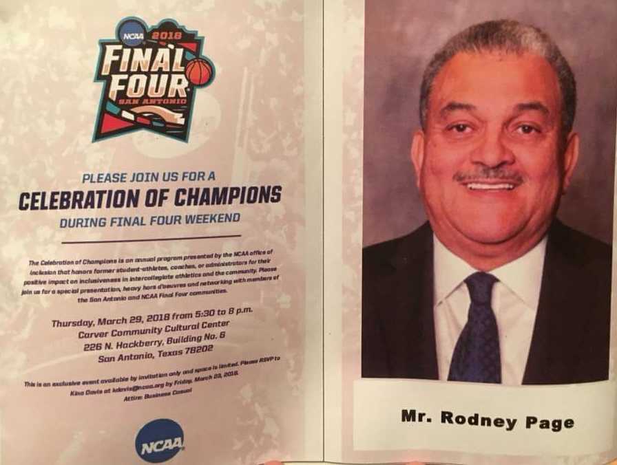 Rodney Page is honored at  the Celebration of Champions on March 29, 2018.