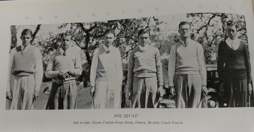 Payne, Captain Groos, Gregg, Tinnin, McAfee, Coach Penick