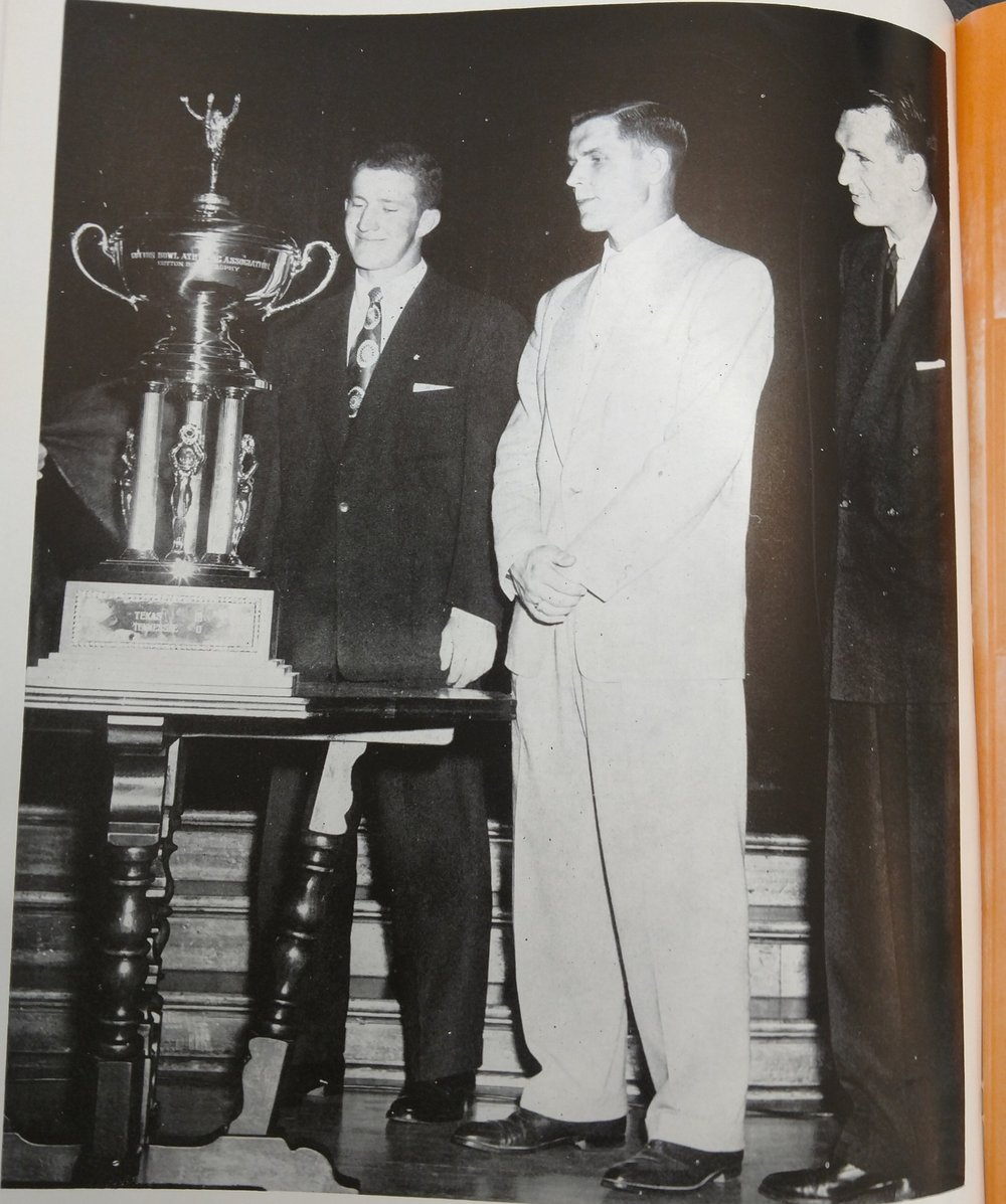 - Football Captains with the Cotton Bowl Trophy- Jack Barton , Tom Stolhandske, Dick Ochoa