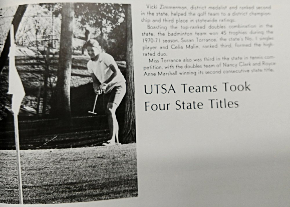 1971 Vicki Zimmerman is District medalist and ranked 2nd in the state