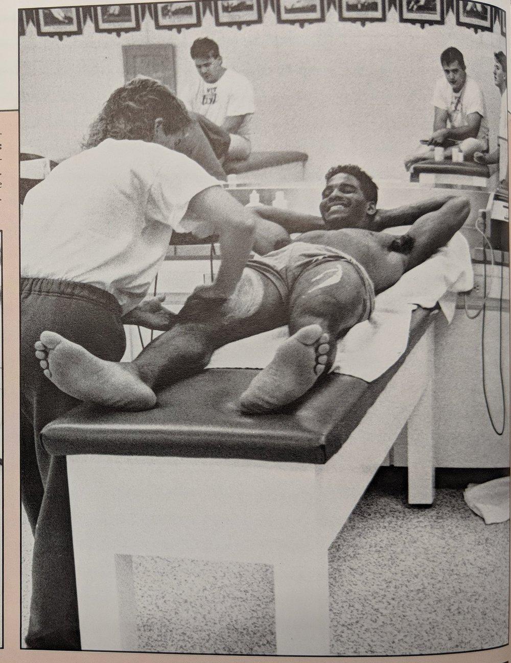 Johnny Walker getting massage